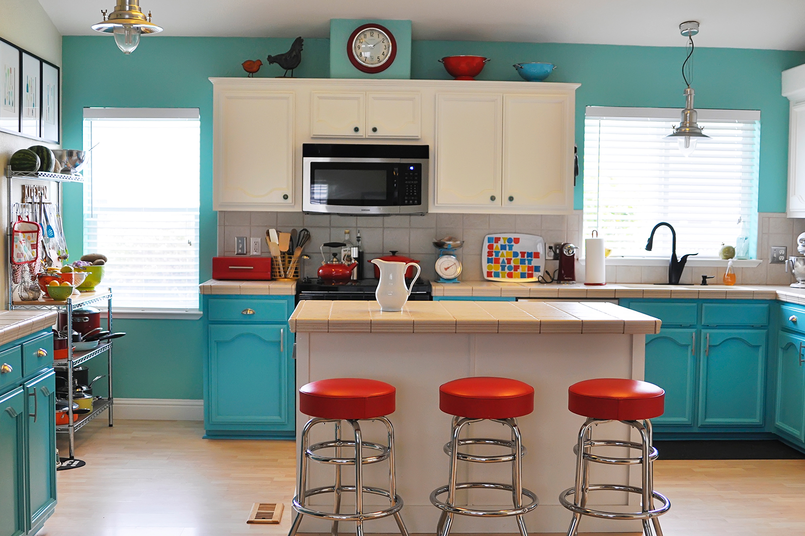 a colorful kitchen remodel project